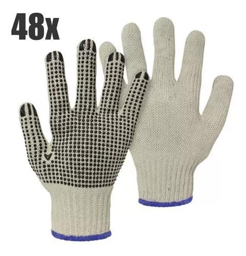 Luva tricotada de algodão - pigmentada c/ 48 pares