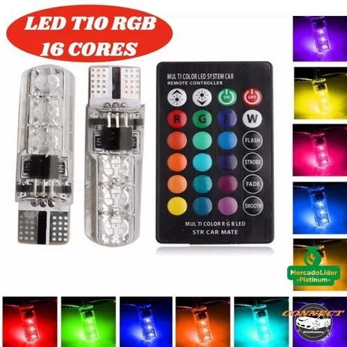 Par lâmpada led t10 rgb w5w 16 cores controle r