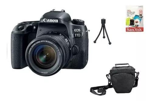 Canon 77d 18-55mm aps-c +tripe + 32gb + bolsa + nota fiscal