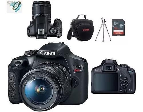 Câmera canon rebel t7 com 18-55 + 32gb+bolsa + nota fiscal