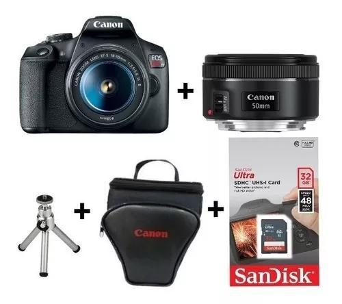 Câmera canon t7 c/ 18-55 + 50mm 1.8 stm +