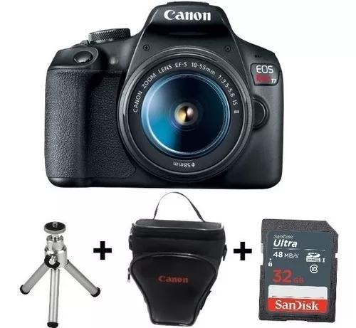 Câmera canon t7 c/ 18-55 + bat. lp-e10 + sd32, bolsa e