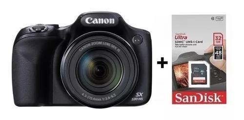 Câmera digital canon powershot sx530 hs + sd 32gb + bolsa