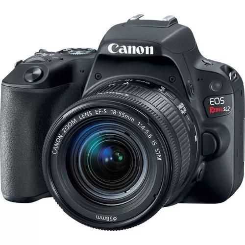 Câmera profissional canon eos rebel sl2 32gb lente 18-55