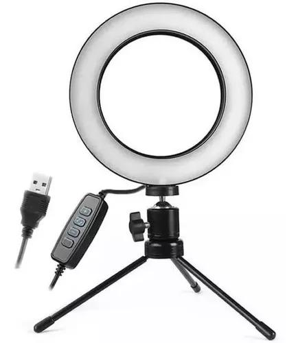 Iluminador de led com tripe ring light usb 16cm 3500k 5500k