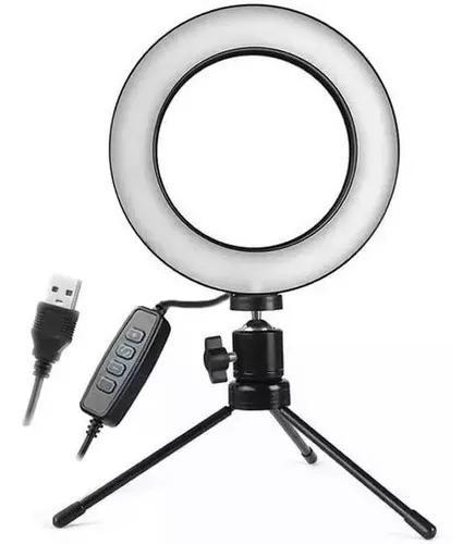 Iluminador De Led Com Tripe Ring Light Usb 16cm 3500k 6000k