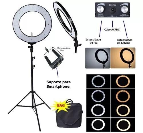 Iluminador led ring light 18 80w 48cm tripe 2m