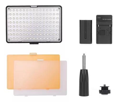 Iluminador profissional de led 160 + bateria f550 + carregad