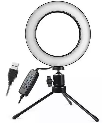 Iluminador ring light 16cm usb led misto 3500k 5500k + trip