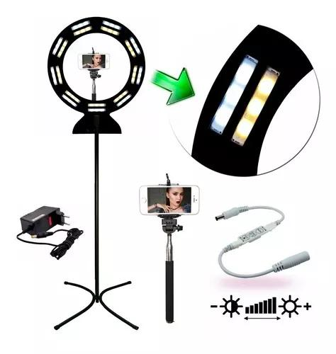 Iluminador ring light maxx black led 42w com tripé
