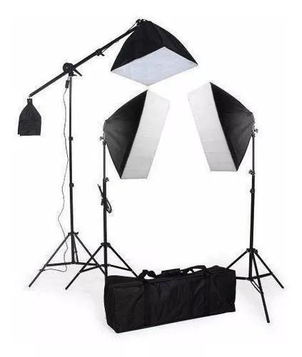 Kit 3 softbox greika 50x70+ 40x40 c/ girafa 9 lampa 5500k nf