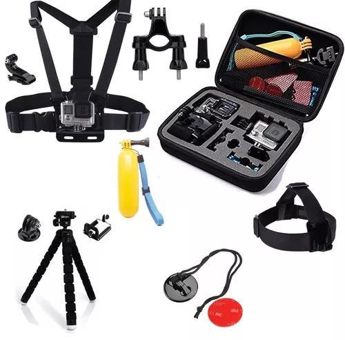 Kit acessórios gopro go pro hero 7/6/5/4 maleta suportes