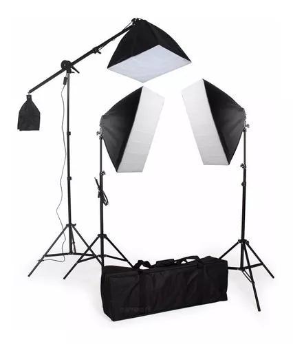 Kit iluminação estúdio pk-sb03c/ softbox 50x70 e girafa