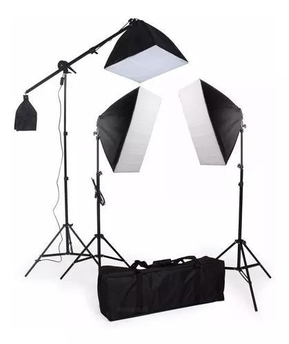 Kit iluminação estúdio profissional softbox e girafa