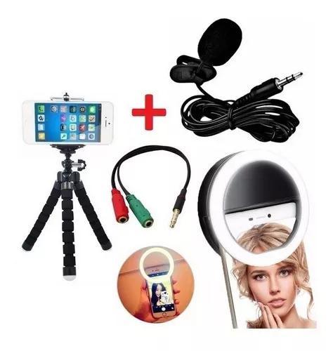 Kit microfone de lapela celular + tripé + flash ring light