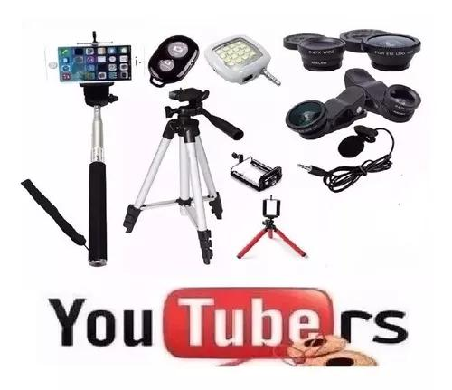 Kit youtuber tripé 1,00 anel flash de led lapela celular