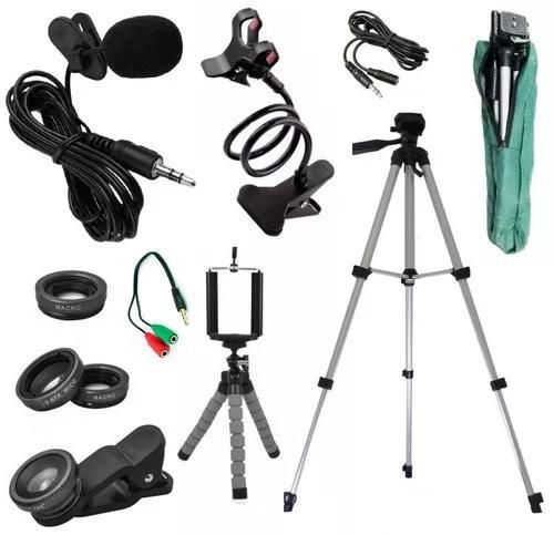 Kit youtuber tripé 1,30m câmera celular + lapela extensão