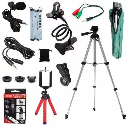 Kit youtuber tripé 1,30m + microfone lapela celular