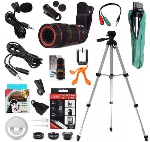 Kit youtuber tripé 1,30mts microfone lapela celular +