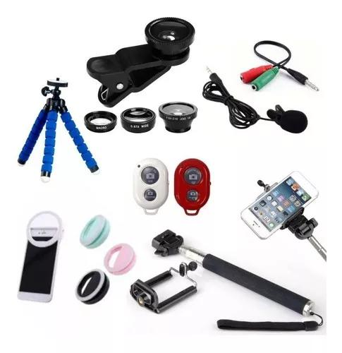 Kit youtubers 7x1 samsung tripé, bastão, mic, flash,