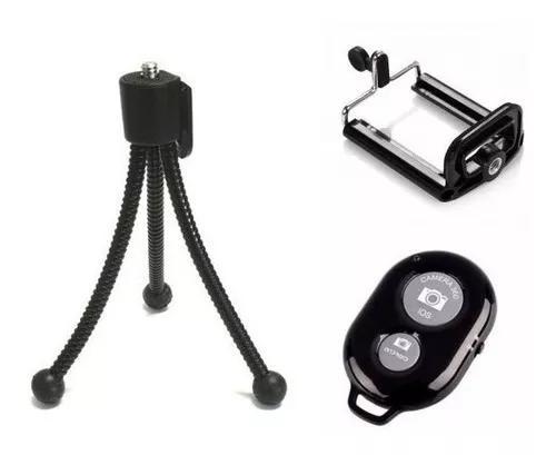 Mini tripe + suport celular + controle bluetooth ios android