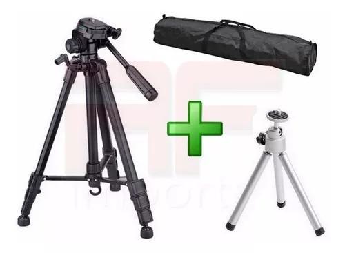 Tripé telescópico camera profissional 1,80 mts + mini