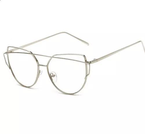 Armação de óculos lente transparente modelo gatinho metal