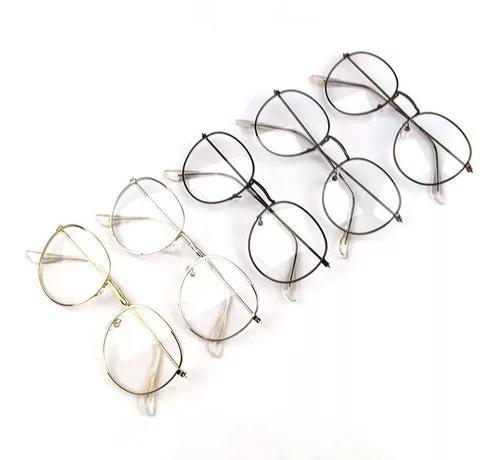 Armação redonda óculos para grau aço confortável +