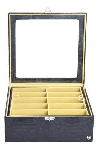 Caixa estojo porta 20 óculos organizador couro preto/bege