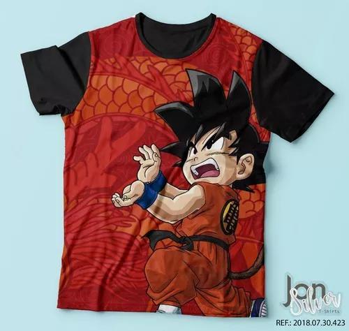 Camisa camiseta dragon ball z super goku criança