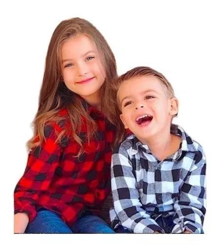 Camisa xadrex infantil flanelada manga longa criança 1 ao 8