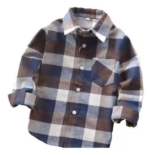 Camisa xadrez infantil criança menino marrom