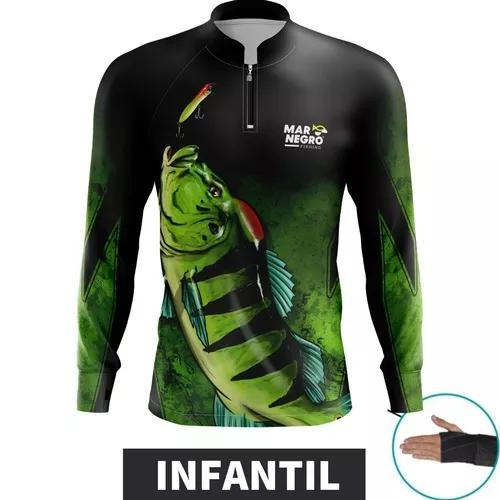 Camiseta infantil pesca proteção solar criança blusa