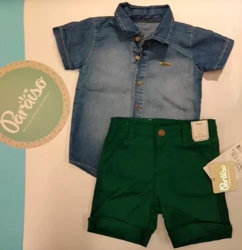 Conjunto bebê paraíso infantil menino criança jeans 187