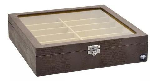 Estojo organizador caixa guarda 12 óculos couro ecológico.