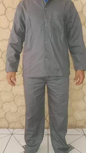 Kit 07 jalecos manga longa) brim pesado cinza uniformes