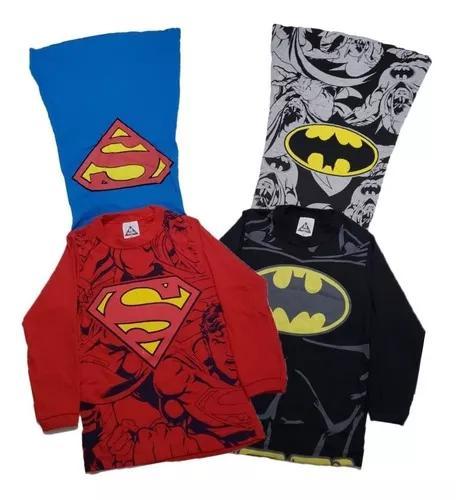 Kit 2 camisas manga longa capa infantil crianças desenhos