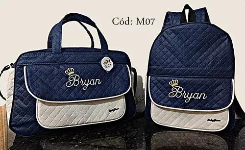 Kit bolsa g e mochila g personalizadas maternidade menino