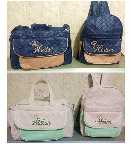 Kit bolsa g e mochila m personalizadas maternidade menino