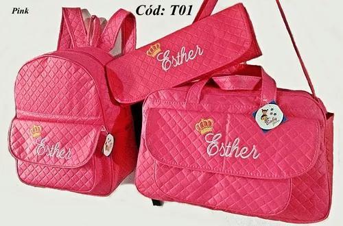 Kit bolsa grande e mochila + trocador personalizadas c/ nome