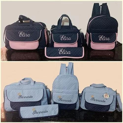 Kit bolsas e mochila + trocador personalizadas maternidade