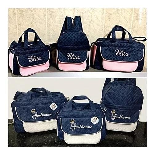 Kit bolsas + mochila personalizada maternidade menino/menina