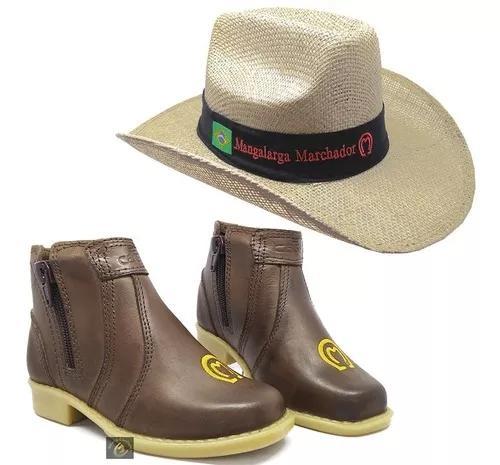 Kit infantil botina bota country + chapeu cowboy rodeo