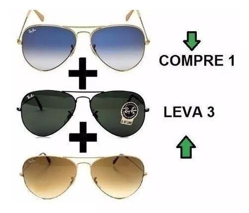 Oculos de sol aviador classico de cristal cores variadas