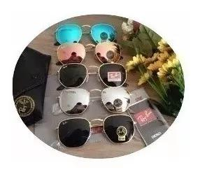Oculos de sol hexagonal espelhado de cristal cores variadas