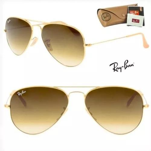 Oculos de sol ray ban aviador rb3025 marrom degrade