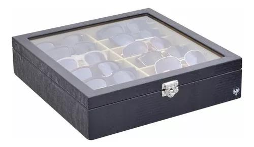Organize! caixa porta estojo para 12 óculos couro preto