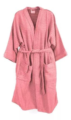 Roupão de banho atoalhado juvenil 100% algodão rosa tam.