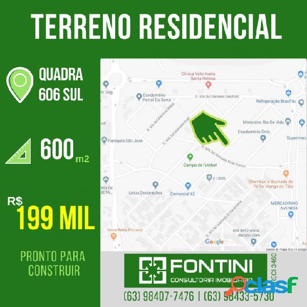 Excelente terreno para condomínio na 606 Sul - 600m²