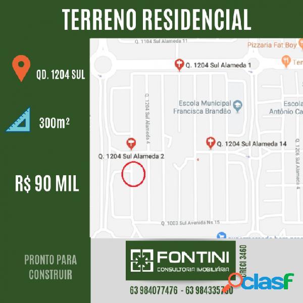 Terreno à venda em palmas, qd 1204 sul, 300m², r$ 90 mil.